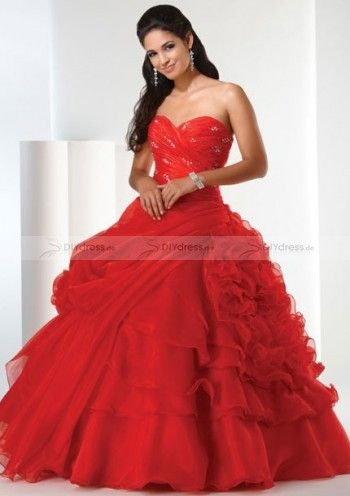 Rot Quinceañera Kleid von DIYdress.de Red Quinceañera Dress Beaded and Lace Up Back