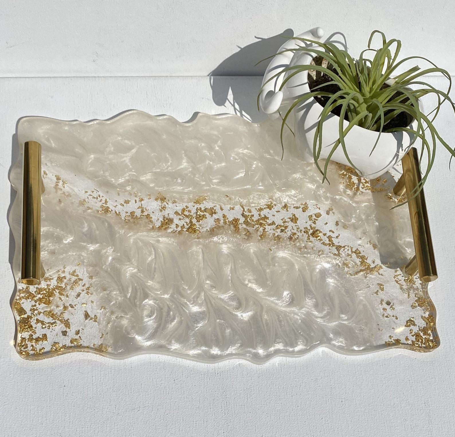 Geode agate Moonstone white resin decorative servi
