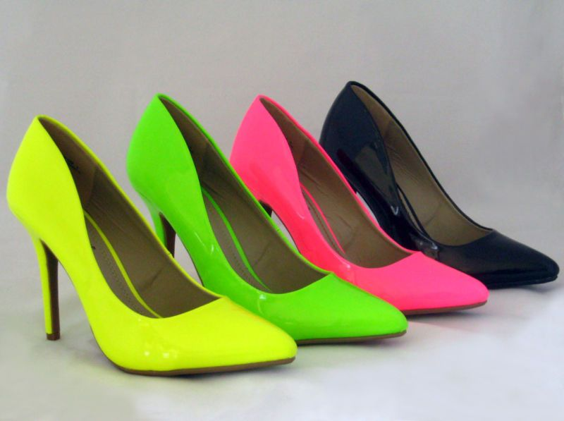 b5d5aeaf303 New Pointy Toe Heels Pumps Neon Patent Pink Green Yellow Black ...