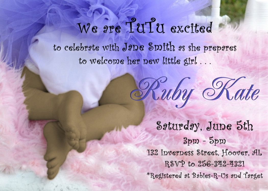 tutu and african american tiny toes baby shower invitation for a baby girl in pink and purple