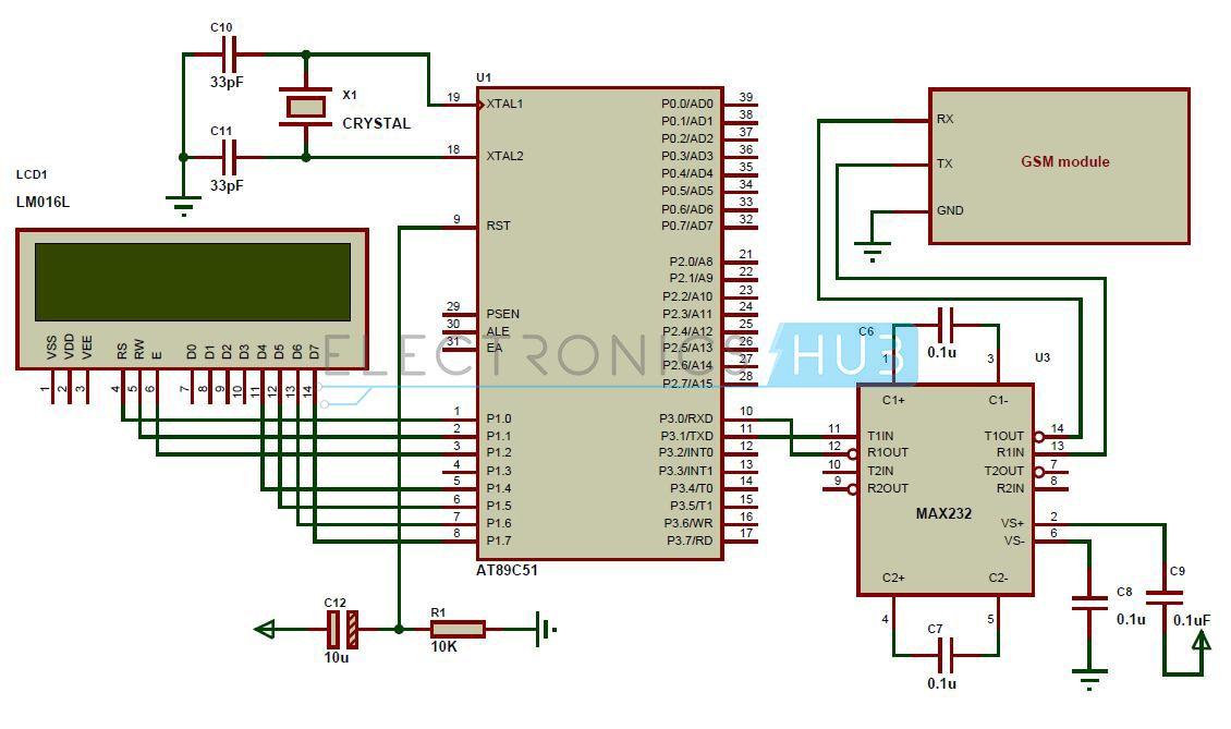 Wireless Electronic Notice Board using GSM Circuit | Circuit diagram ...