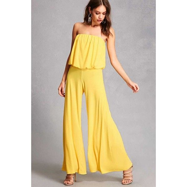 Forever21 Strapless Palazzo Jumpsuit 38 Via Polyvore Featuring