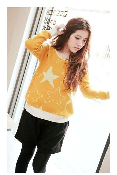 iAnyWear Yellow Star Pattern Knit Top