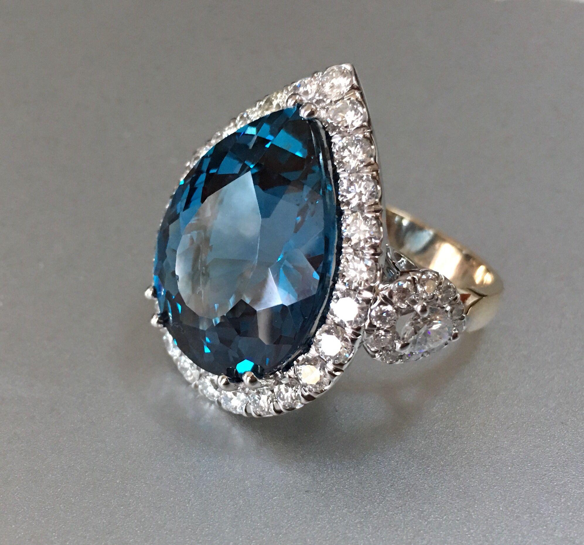 Blue Topaz Diamond Ring. Large, stunning, teardrop topaz