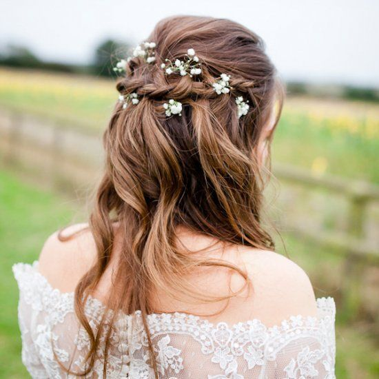 Country Wedding Hairstyles: A Messy Braided Half Updo With Waves And Baby's Breath For