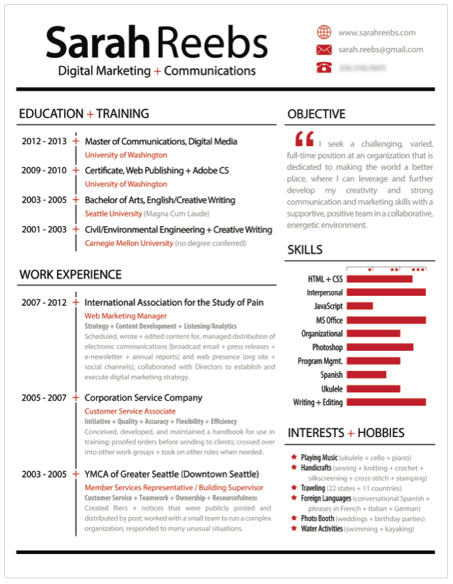An infographic-style resume stands out from basic text-heavy ...