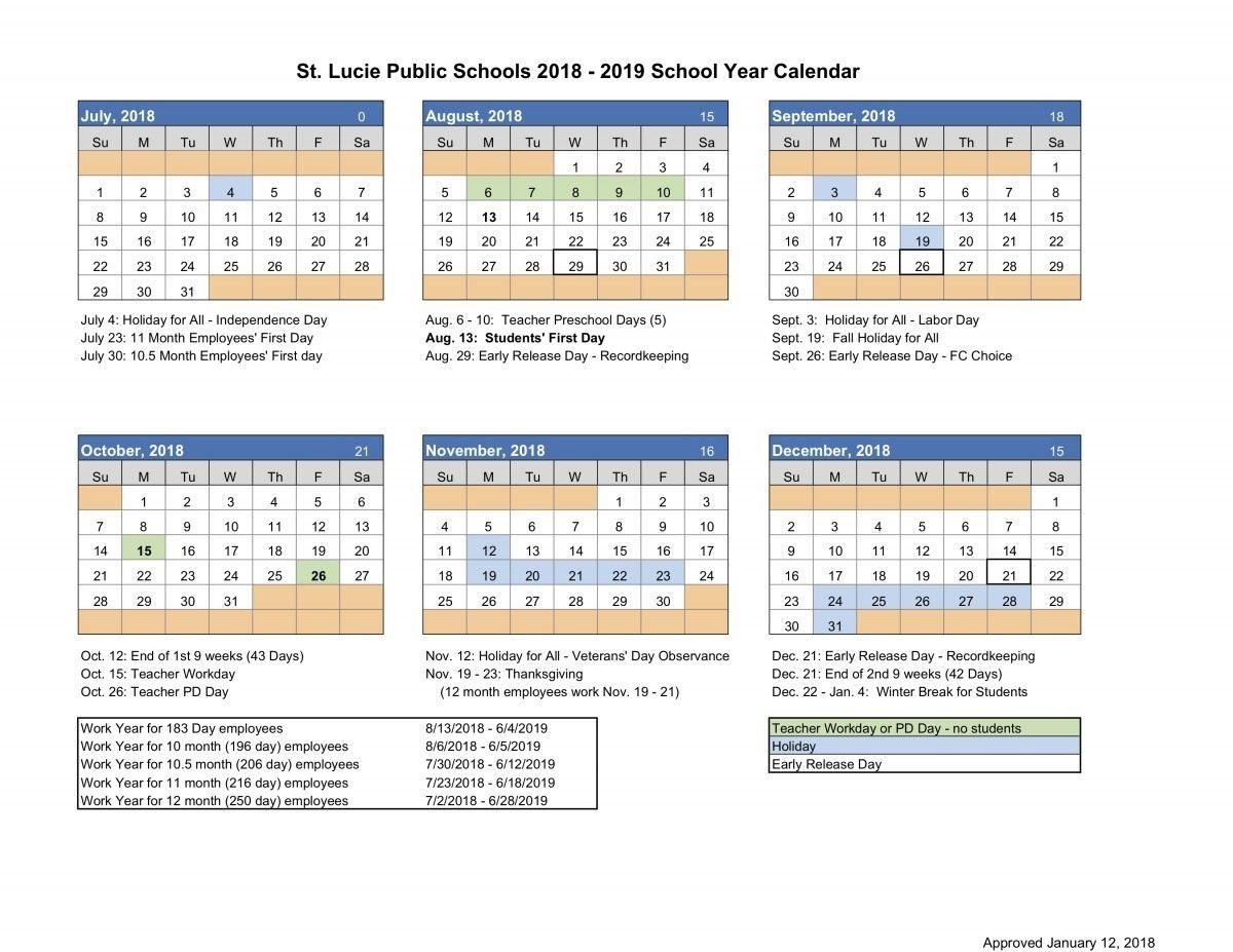 St Lucie School Calendar 2021 Pin on calendar ideas