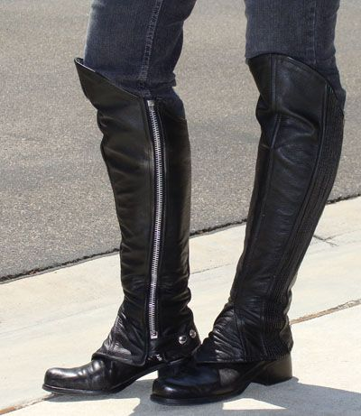 Motorcycle Biker Leather Half Chaps Large