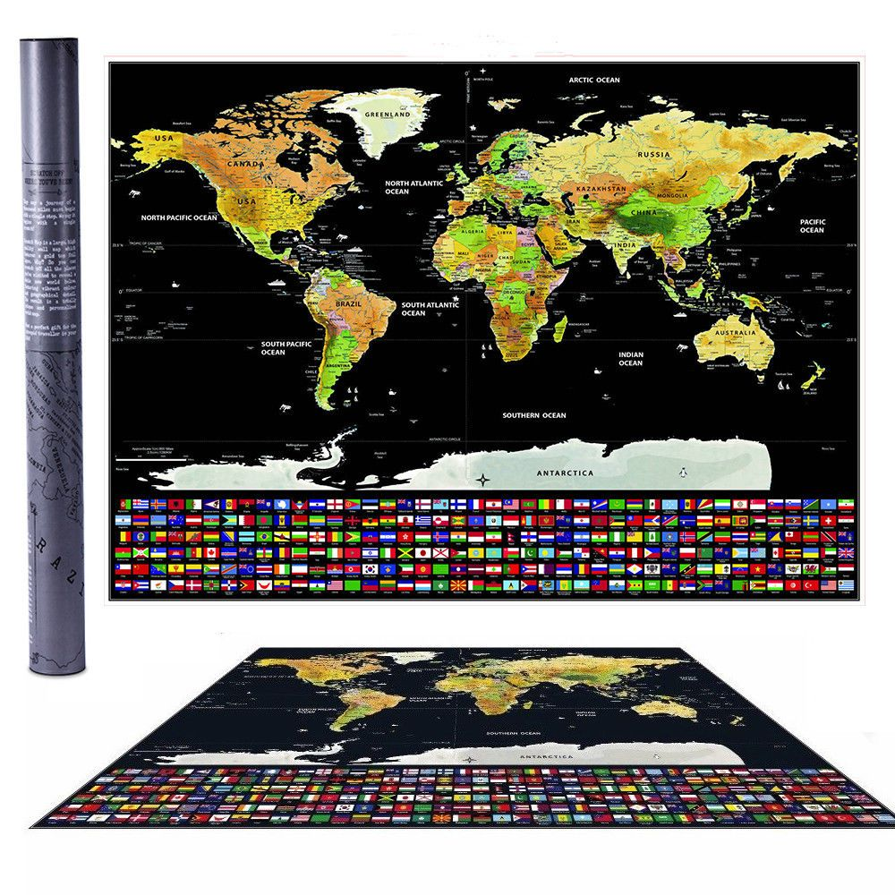 New travel tracker big scratch off world map poster with us states new travel tracker big scratch off world map poster with us states country flags 122806774219 for 995 gumiabroncs Gallery