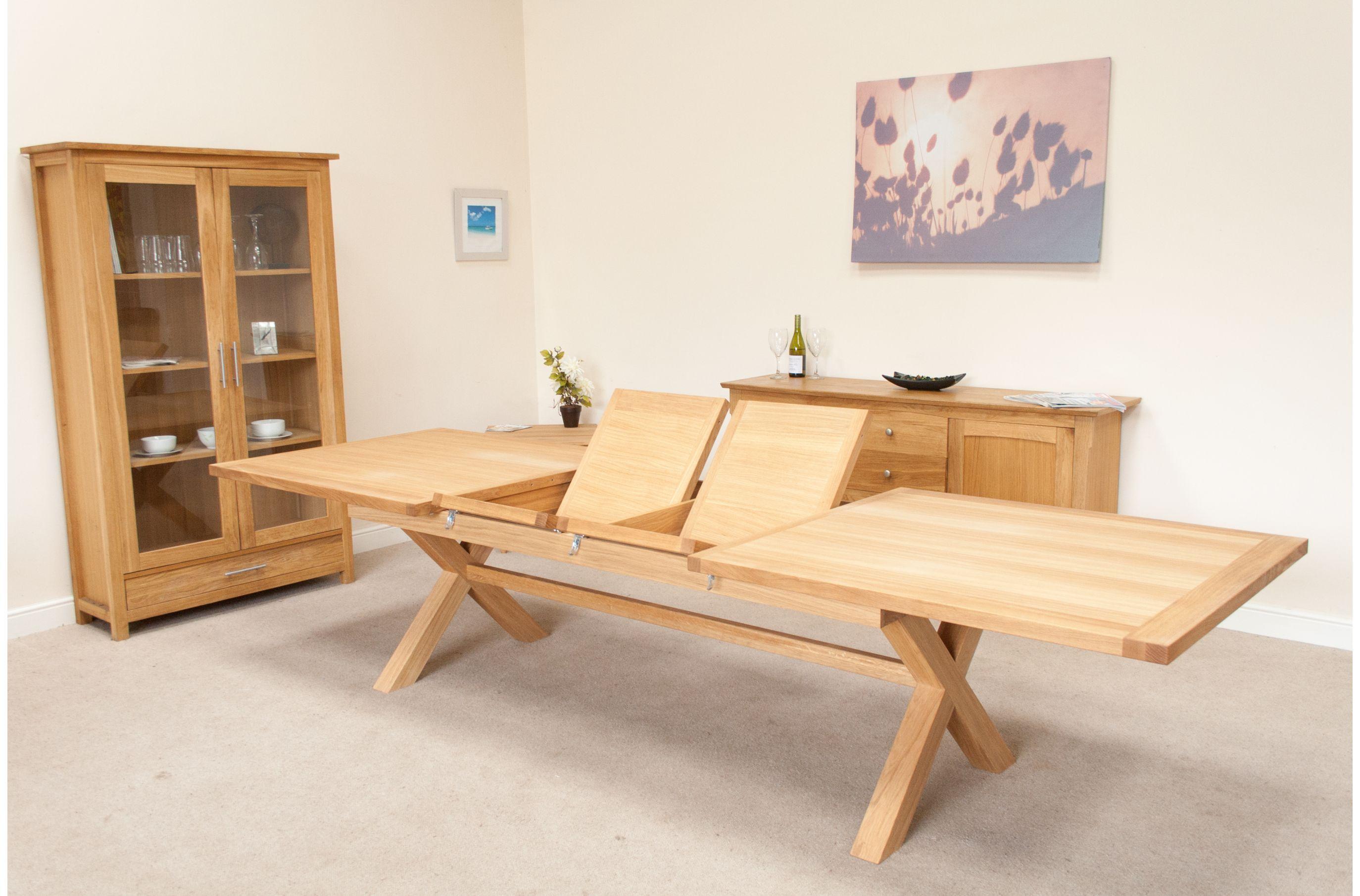 12 14 Seat Extending Oak Cross Leg Large Dining Table Mesas Extensibles Mesas