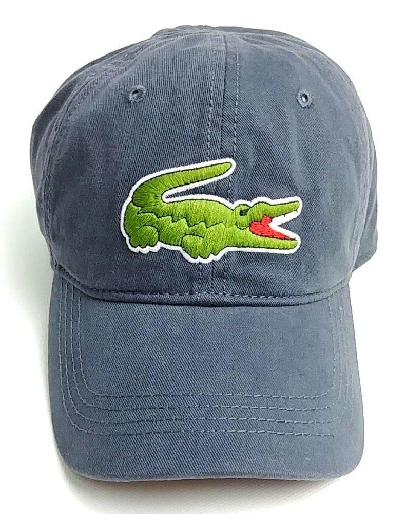 a338e70bf7462 Lacoste Men s Gabardine Cap with Large Crocodile Graphite Blue Gray Cotton   Lacoste  Hat