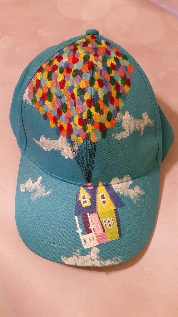 One of a kind hand painted hat! Blue baseball cap with the famous house and  balloons from the movie Up! Adjustable strap in the back f8fbc68973c9