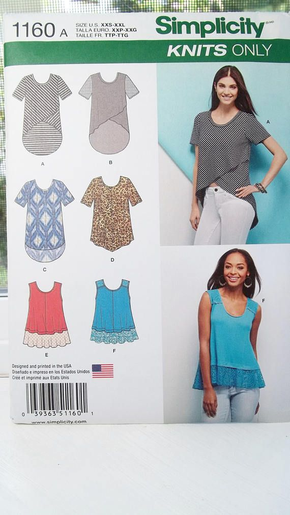 Misses Fashion Knit Top Simplicity 1160 Sewing Pattern Sleeveless