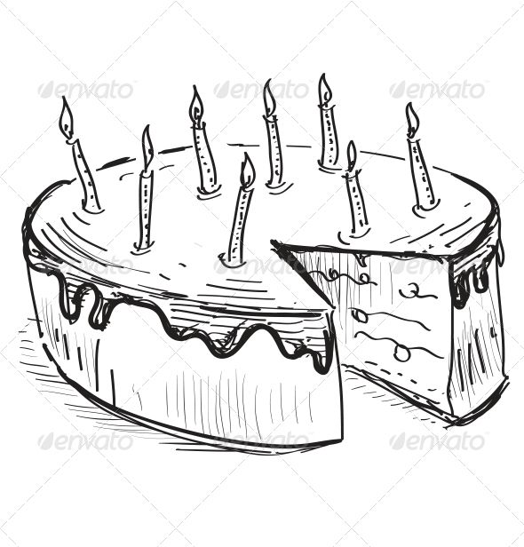 Birthday cake with candles birthday cakes hand drawings and birthday cake with candles cartoon sketchesdrawing sciox Image collections