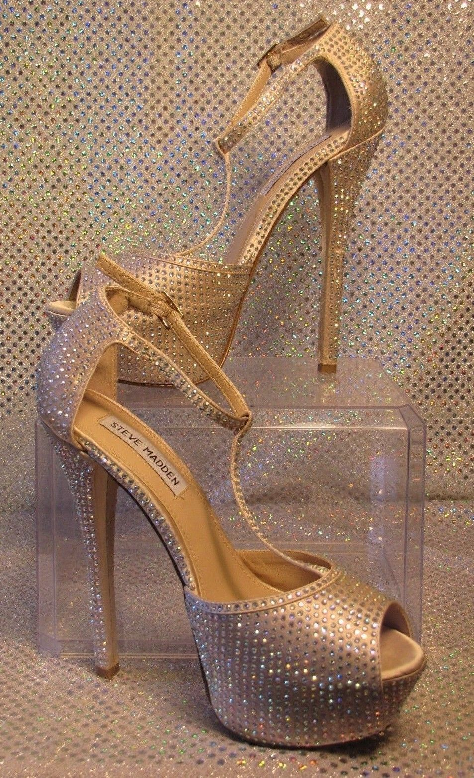 f90e3176a91 STEVE MADDEN RHINESTONE CRYSTAL TALL STILETTO PLATFORM FORMAL PUMPS SZ 7.5M