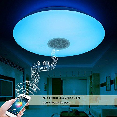Smart Led Ceiling Light Multi Color Changing And Dimmable With Bluetooth App And Sound Speaker For Livin Ceiling Lights Led Ceiling Lights Modern Ceiling Light