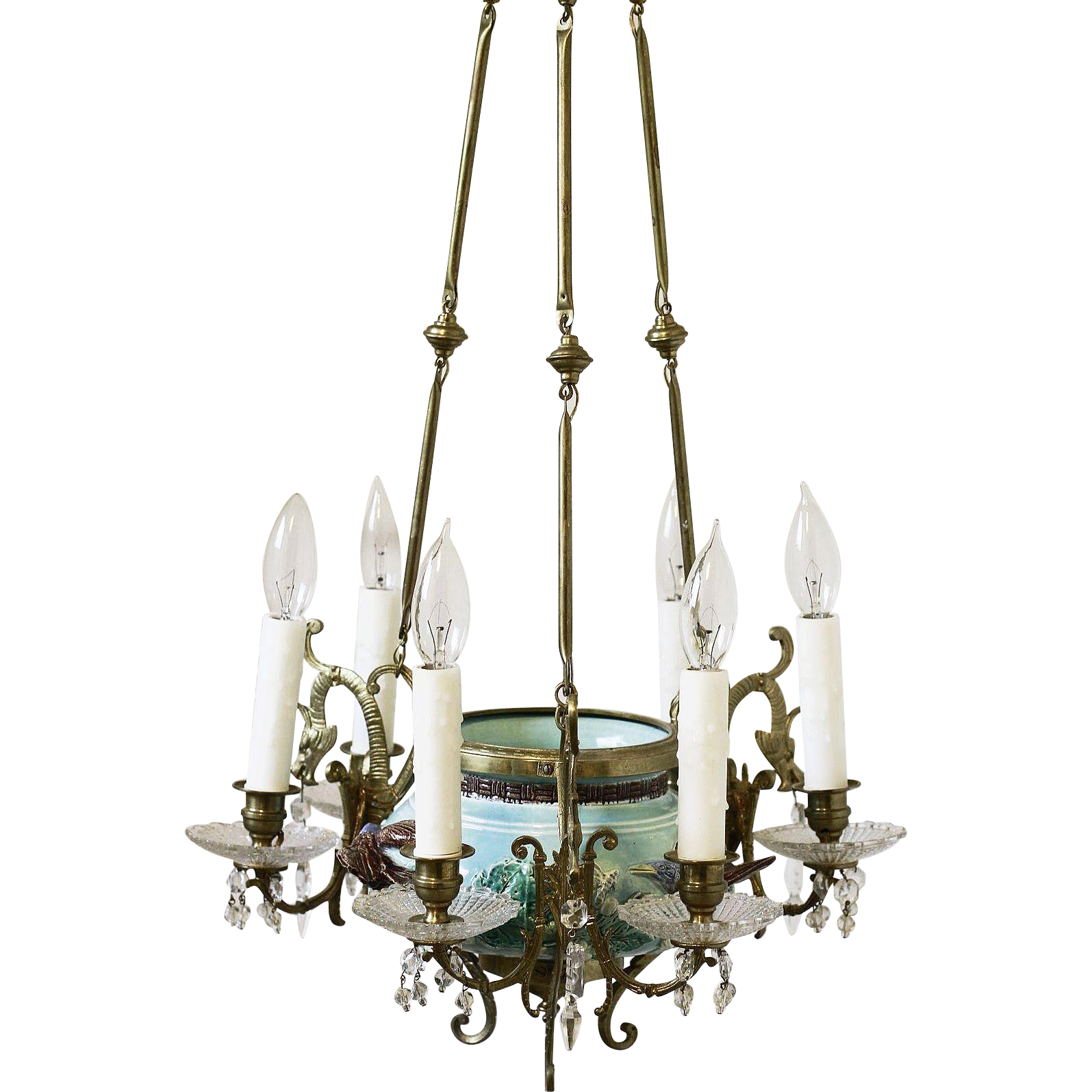 Fabulous antique french turquoise majolica chandelier with birds fabulous antique french turquoise majolica chandelier with birds flowers arubaitofo Gallery