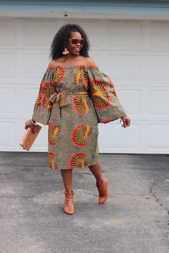 African Dresses, Ankara Dress, African Print Dress, African Fashion, African Clothing, Off the Shoulder Dress #afrikanischekleider
