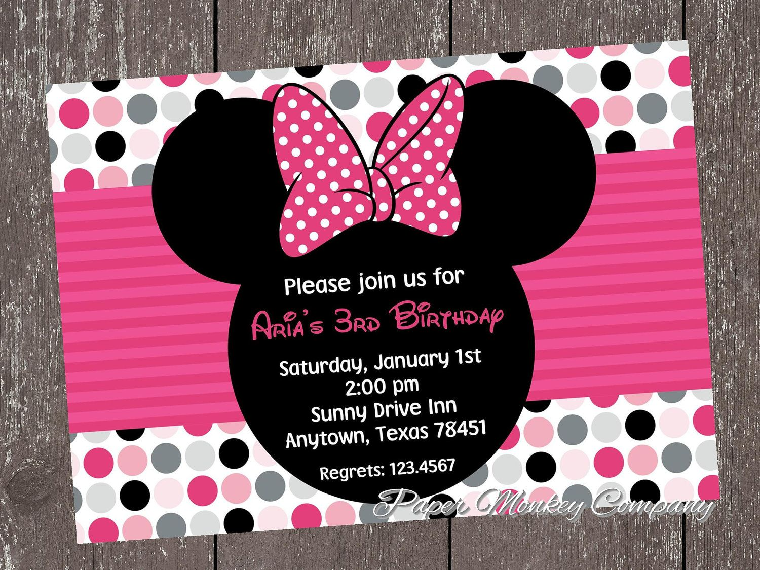 Custom Printed Birthday Invitations 100 each with envelope – Minnie Invitations for Birthdays