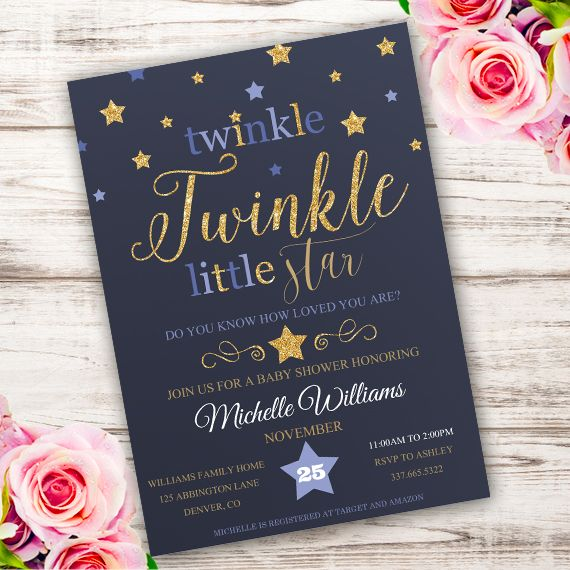 Twinkle Baby Shower Invitation Template Edit With Adobe Reader