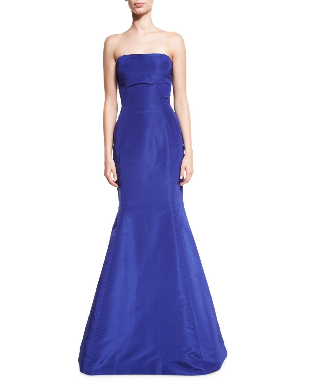 Strapless Ruffle-Back Silk Faille Gown, Royal | Oscar de la Renta ...