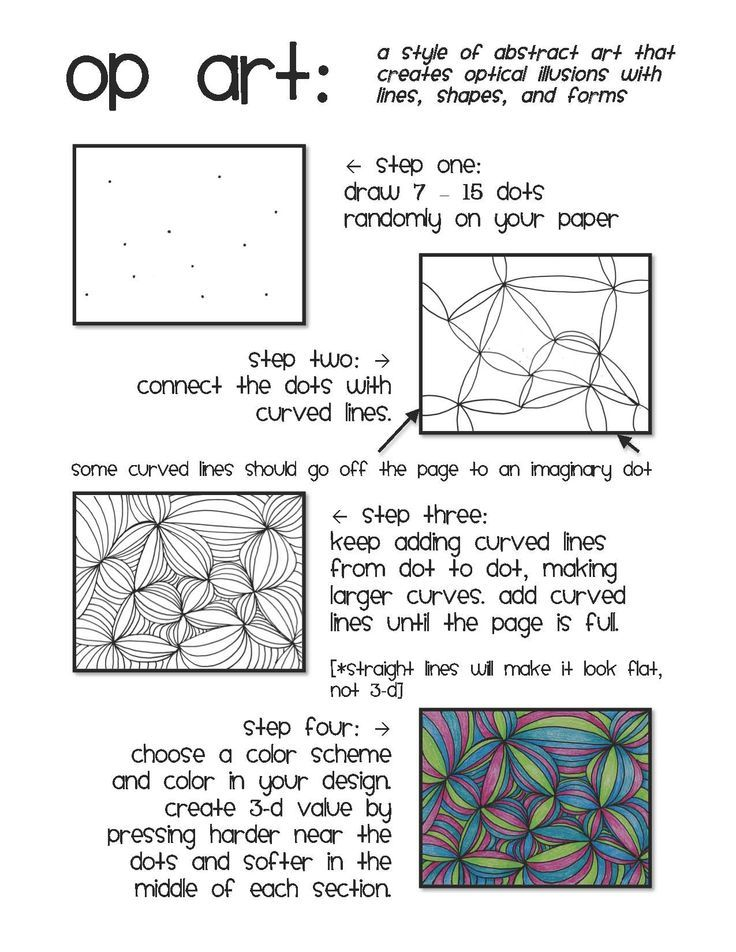 Op Art Also Known As Optical Art Is A Style Of Visual Art That Uses Optical Illusions Op Art Works Are Abstract Op Art Lessons Art Handouts Art Worksheets Optical illusion worksheets