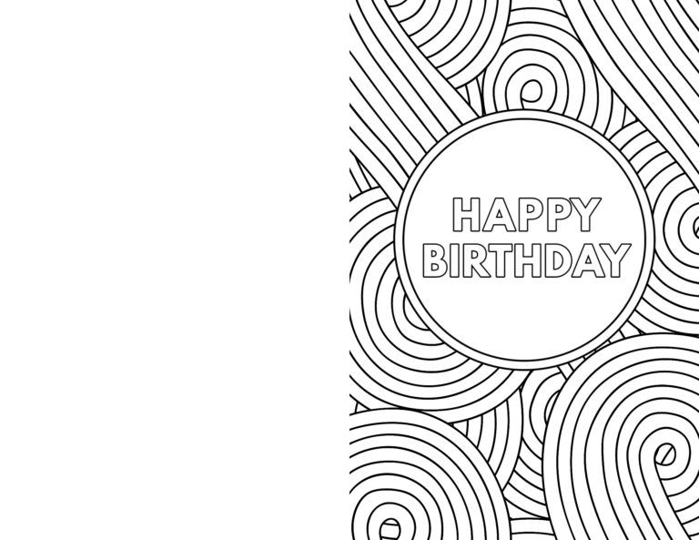 Coloring Book : Incredible Happy Birthday Card Coloringes ...