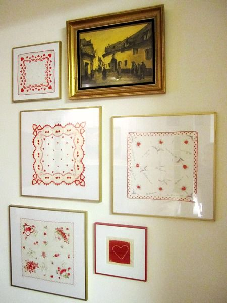 make your own unique wall art by framing vintage hankies