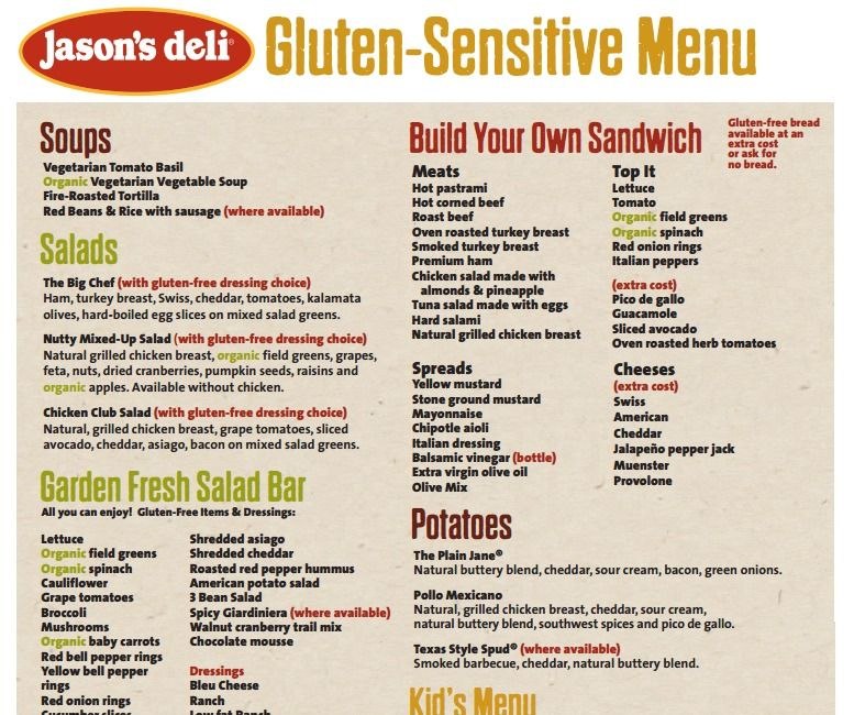 picture relating to Jason's Deli Printable Menu called Jasons Deli GF menu goods (pdf) Foods and Consume: Guidelines
