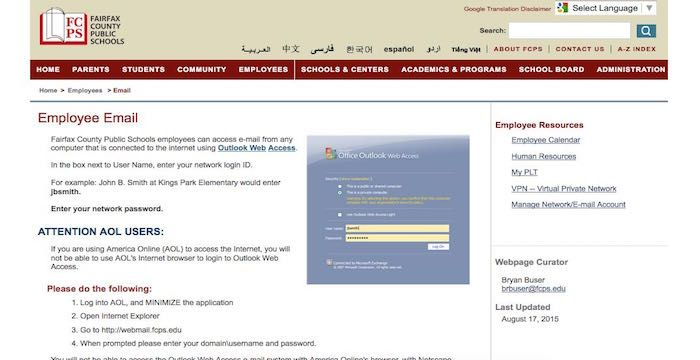 Fcps Employee Email Login Page Url Academic Programs Email