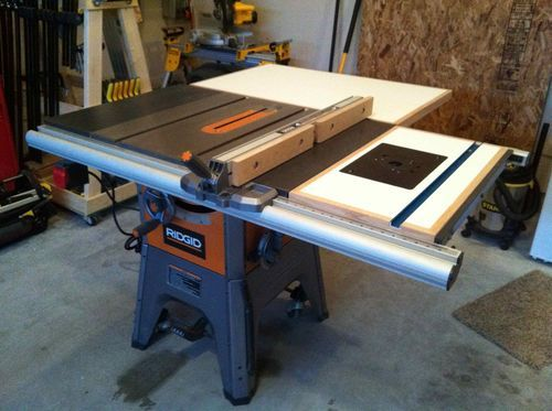 Pin by dave cook on tools i want pinterest woodworking ridgid r4512 ts shop built folding outfeed table router insert greentooth Images