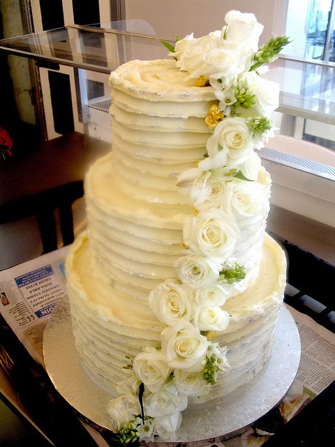 3-tier Wicked Chocolate wedding cake iced in horizontal textured ...