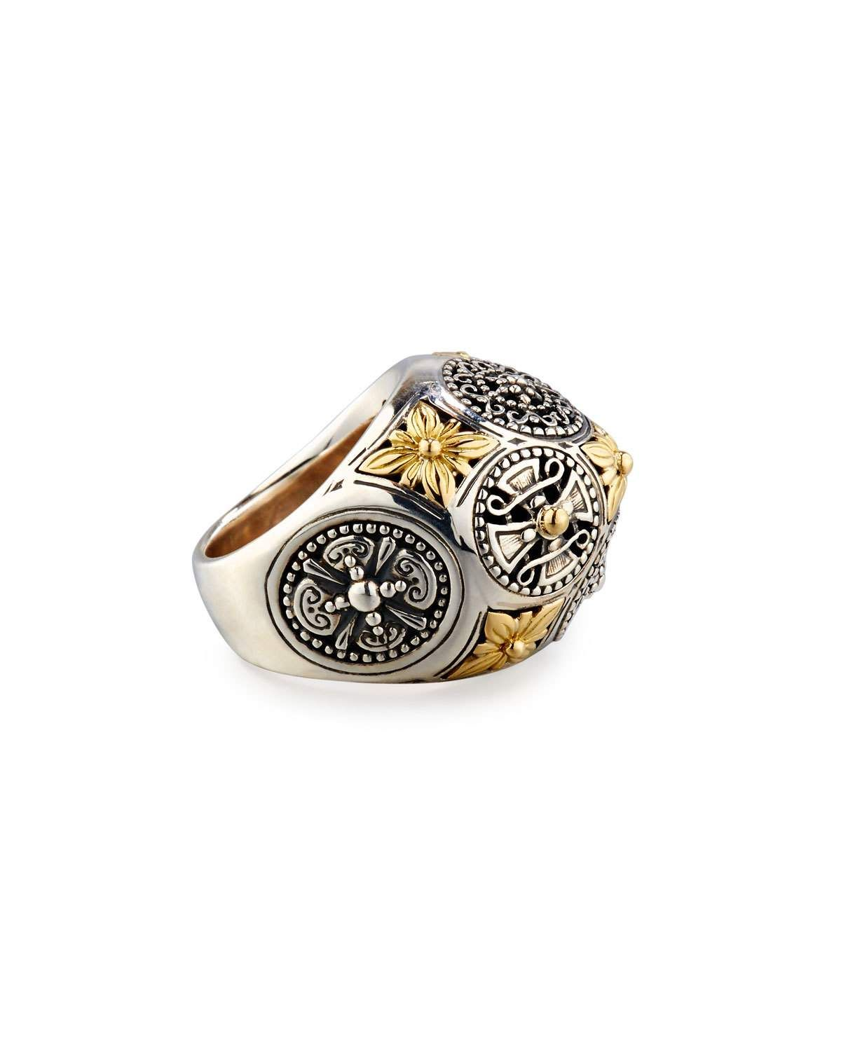 Konstantino Carved Sterling Silver & 18K Floral Dome Ring UY25Sw