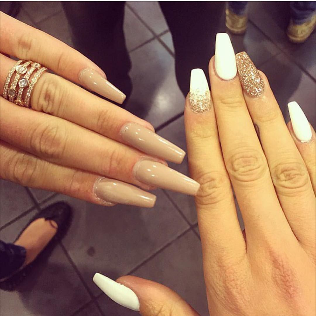 Golden, sparkle nails, with white