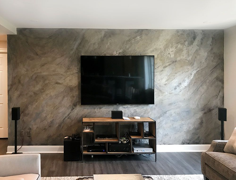 Media Feature Wall Created With Modern Masters Shimmerstone Metallic Paints And Glass Be Accent Walls In Living Room Modern Living Room Wall Room Wall Colors