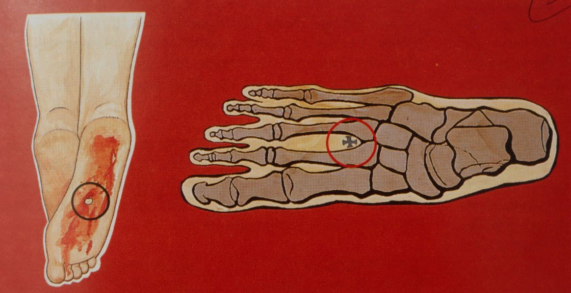 Diagram showing how the nail may have gone through the feet of Jesus ...