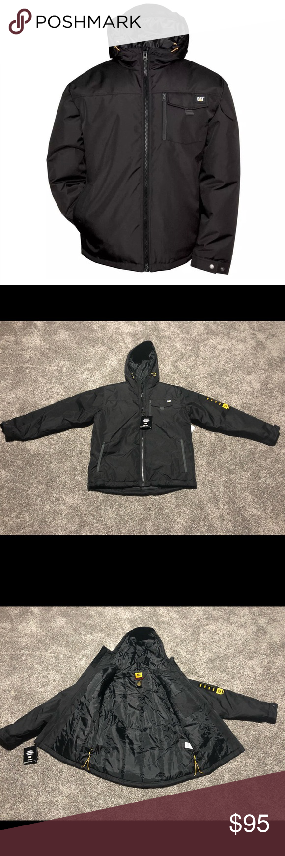 Mens Caterpillar Black Insulated Jacket L And Xl Brand New