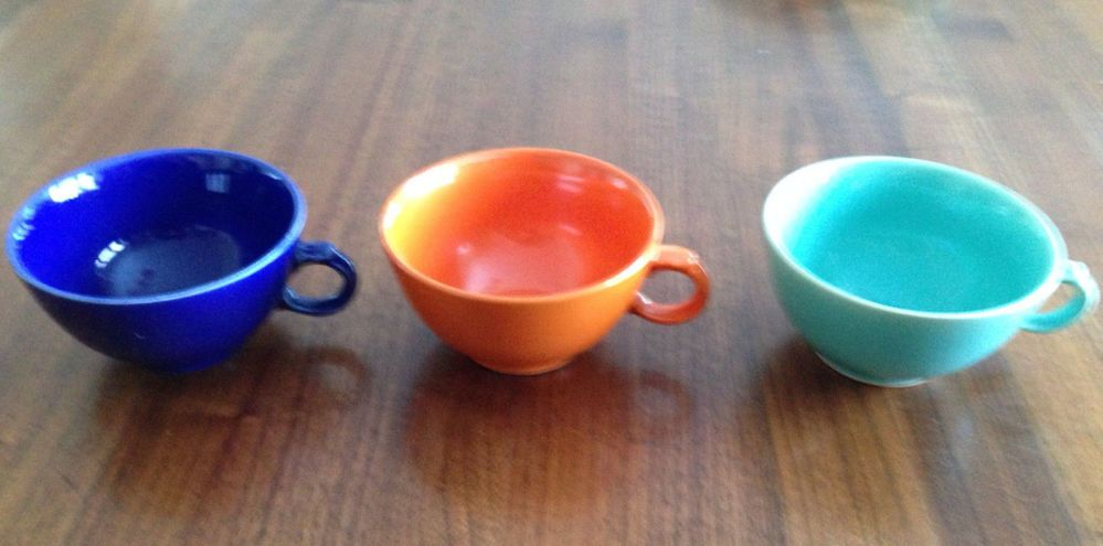 Paden City Caliente Pottery - 3 Cups & Saucers -Red, Cobalt, Turquoise - Ex Cond