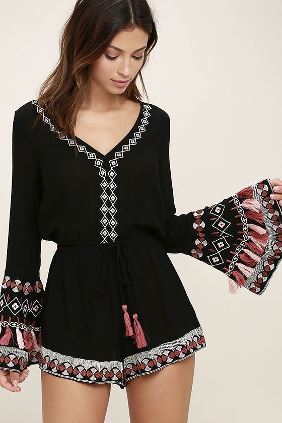 f11d1d4d330 The Hiatus Black Embroidered Long Sleeve Romper is ready to use up those  vacation days! Super soft woven rayon shape a V-neckline and tying, open  back above ...