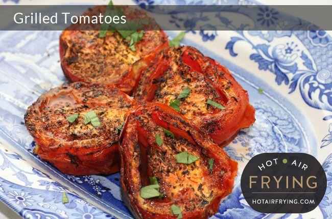 These easy grilled tomatoes taste great, are virtually fat free, and make a great side to any meal, including breakfast. We made these in the top pan
