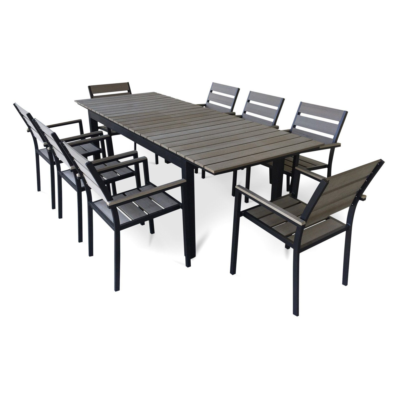 Urban Furnishing 9 Piece Eco Wood Extendable Outdoor Patio Dining Set