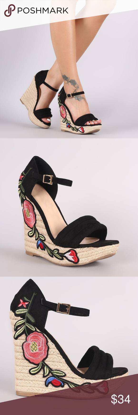 3d24f093b51 Wild Diva Lounge Embroidered Floral Wedge Heels OFFERS WELCOMED  ) Item   NWOT Wild Diva