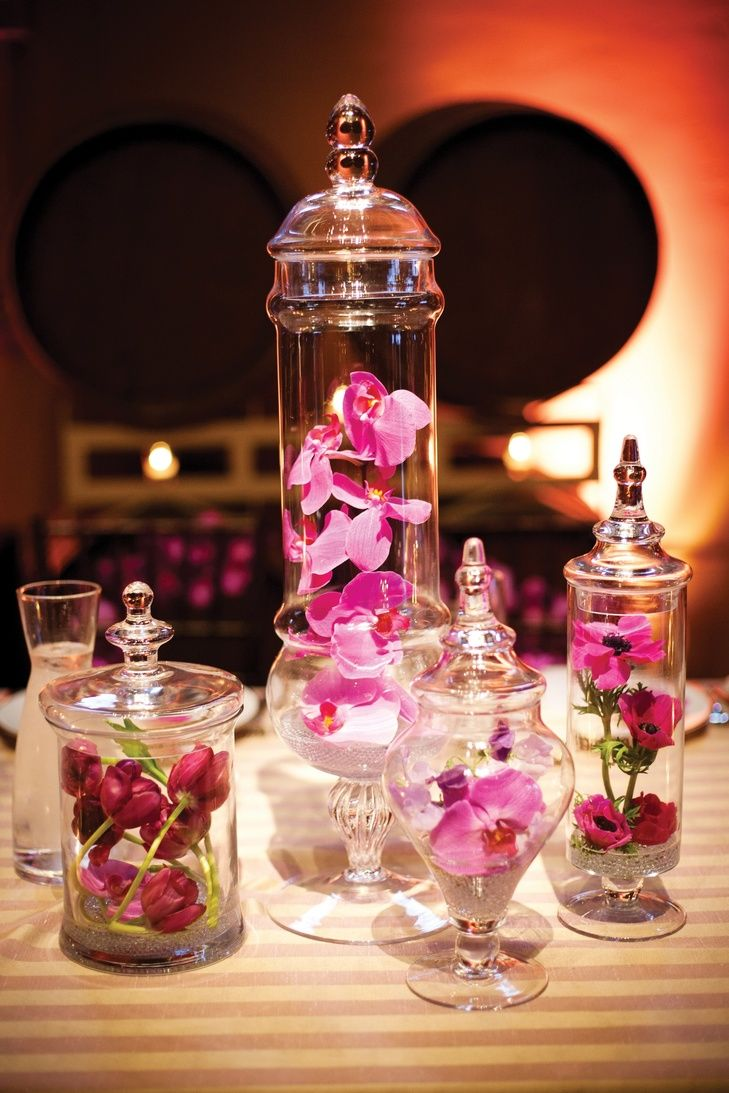 Pin By The Knot On Centerpieces Glass Centerpieces Jar
