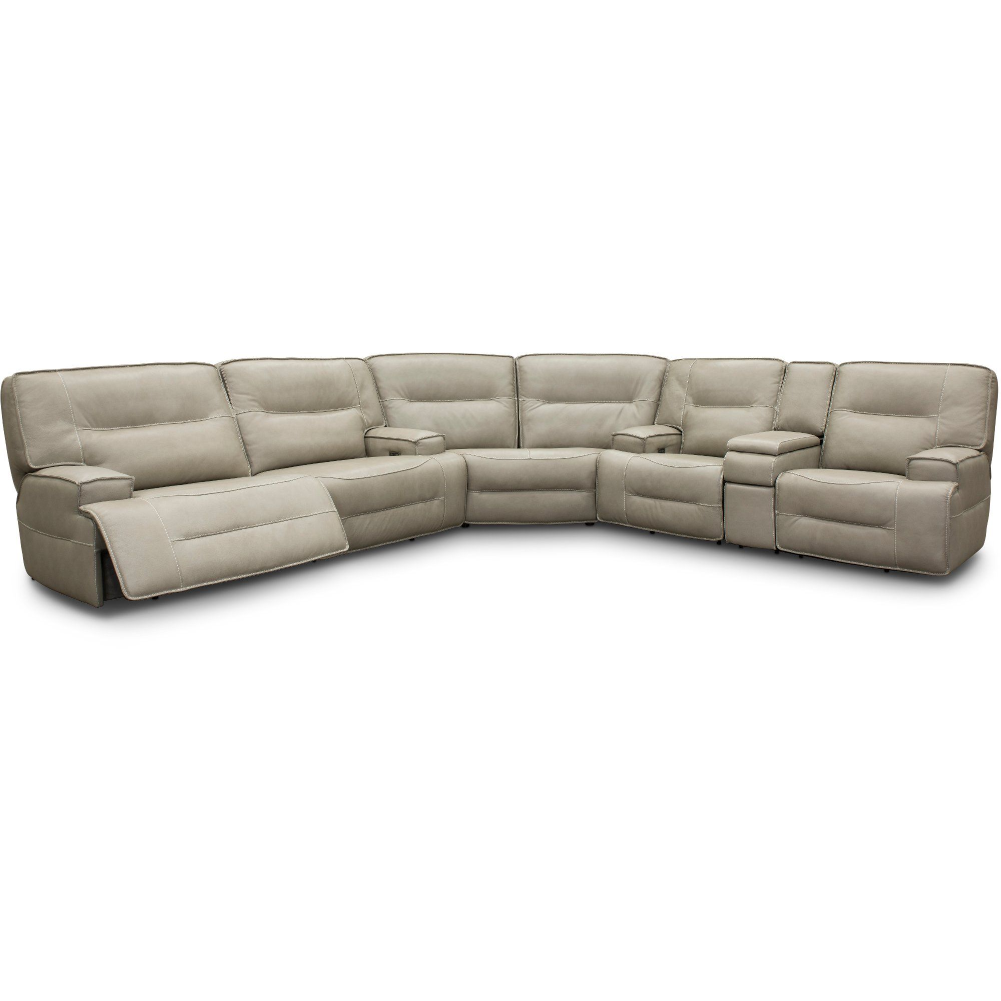 Astounding Dove Beige Leather Match Power Reclining Sectional Sofa With Pdpeps Interior Chair Design Pdpepsorg