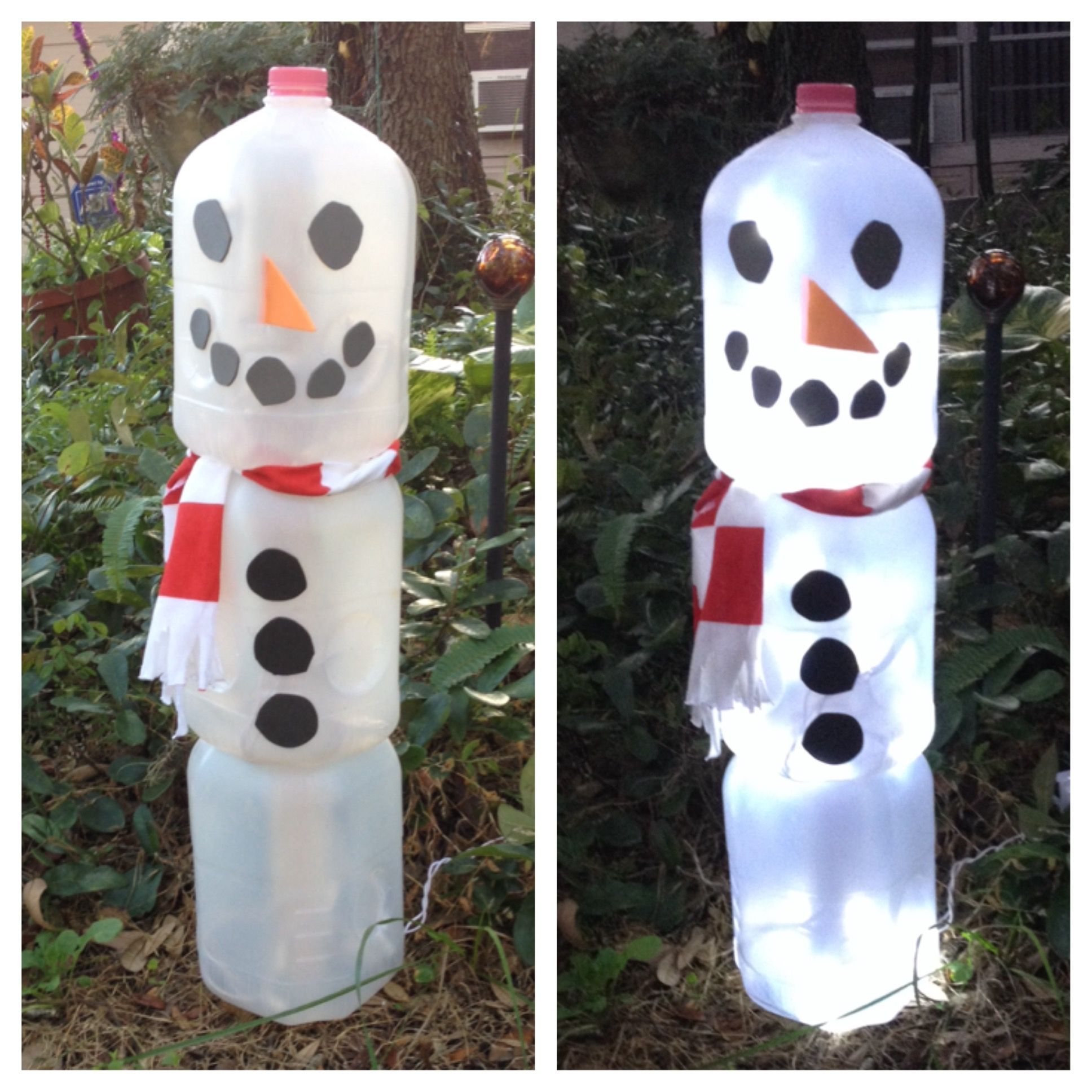 Snowman Made From Gallon Milk Jugs