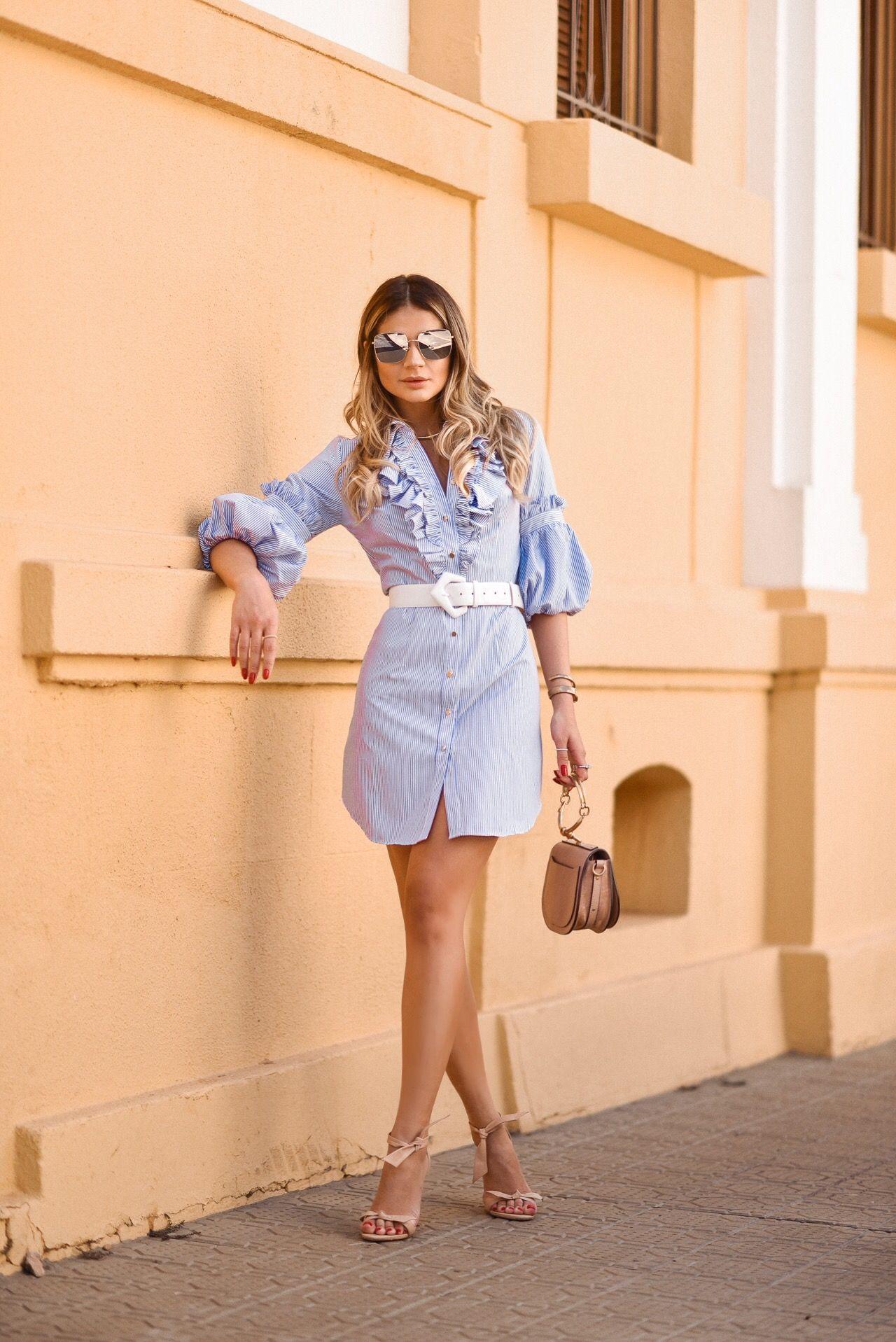 e115e3822 Look da Thassia Naves com vestido estilo camisa social de babados