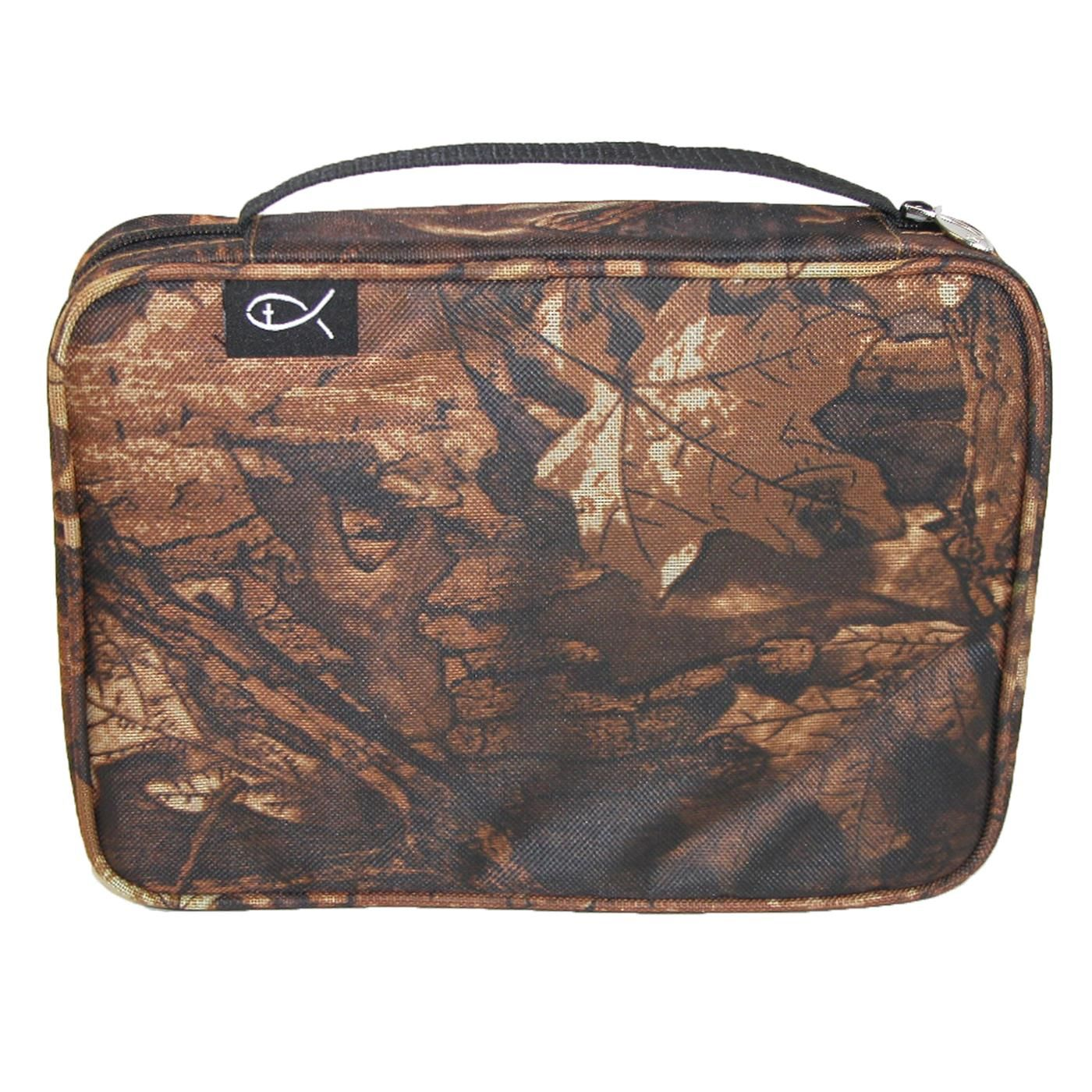 This sturdy canvas bible cover features an all over autumn forest camouflage print. The zip around closure will keep your bible protected while on the go. The bible cover features a carrying handle and Christian fish zipper pull and label.
