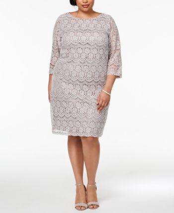 d7ed7121612d Jessica Howard Plus Size Sequined Lace Shift Dress - Tan/Beige 24W