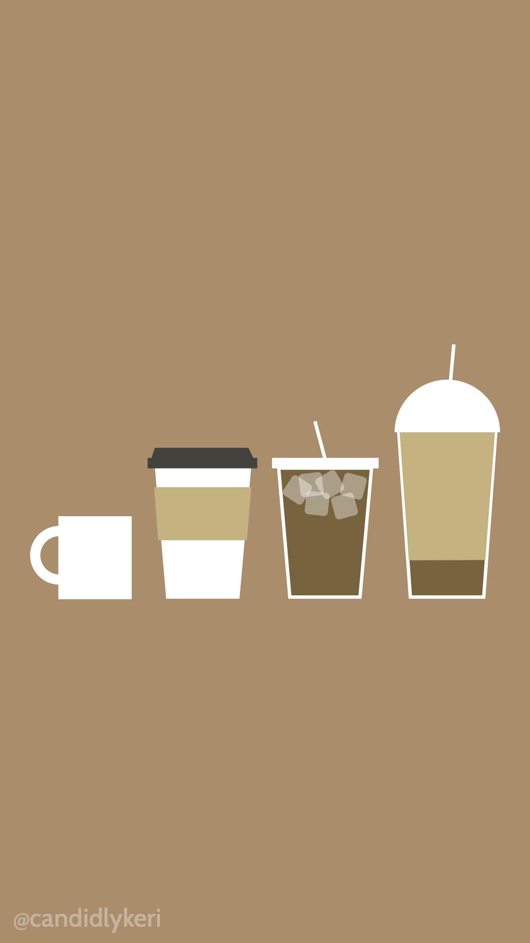 Cute cartoon coffee, latte, iced coffee wallpaper you can