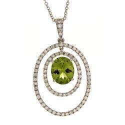 Oval Peridot & Diamond Pendant